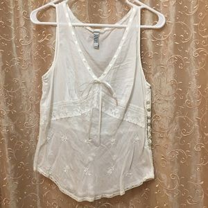 Sheer Lacy Tank Top w/ Bows &Ribbons shell buttons